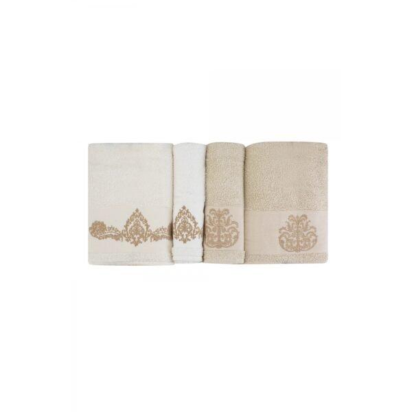 купить Набор полотенец Karaca Home - Eldora offwhite-bej 2020-1 Бежевый|Кремовый фото