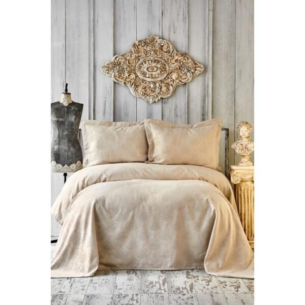 купить Покрывало с наволочками Karaca Home - Eldora gold Бежевый фото