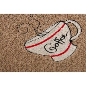 купить Полотенце кухонное Lotus вышивка - Cup Coffee Коричневый фото