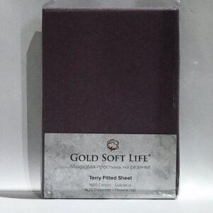 купить Простынь махровая на резинке Gold Soft Life Terry Fitted Sheet purple Сиреневый фото