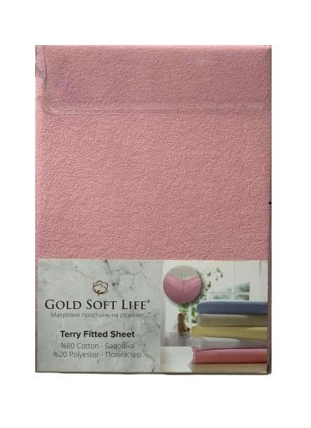 купить Простынь махровая на резинке Gold Soft Life Terry Fitted Sheet розовый Розовый фото