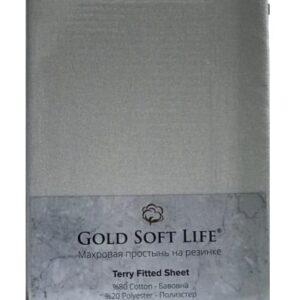 купить Простынь махровая на резинке Gold Soft Life Terry Fitted Sheet grey Серый фото