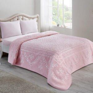 купить Плед TAC Embos Battaniye Amira pudra Розовый фото