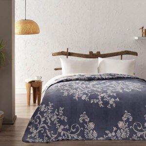купить Плед-покрывало TAC Pamuk Battaniye Anissa mavi Синий фото