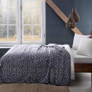 купить Плед-покрывало TAC Pamuk Battaniye Leopard gri Синий фото