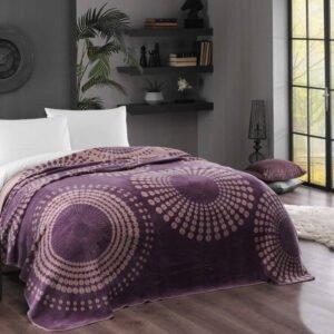 купить Плед-покрывало TAC Pamuk Battaniye Moon murdum Фиолетовый фото