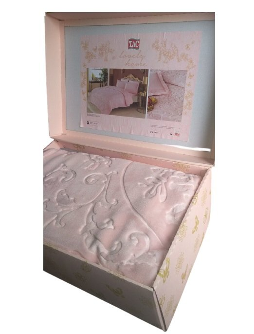 купить Плед TAC Embos Battaniye Camlla pudra Розовый фото