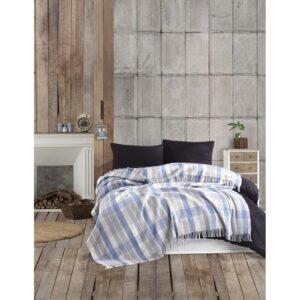 купить Плед в клетку Eponj Home - Ekose Mavi-gri Голубой|Серый фото
