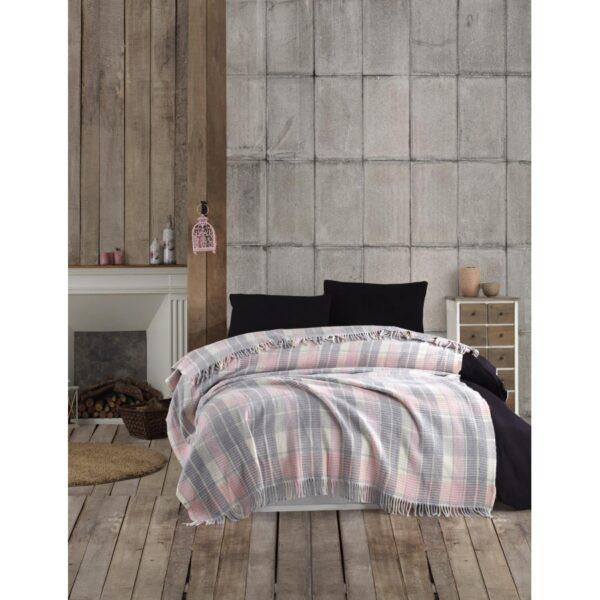 купить Плед в клетку Eponj Home - Ekose Pudra-Gri Розовый|Серый фото