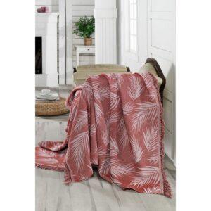 купить Плед-накидка Eponj Home Buldan Keten - Palmiye kiremit Красный фото
