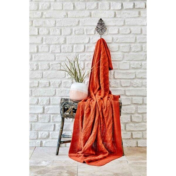 купить Плед вязанный Karaca Home - Sofa bordo Оранжевый фото