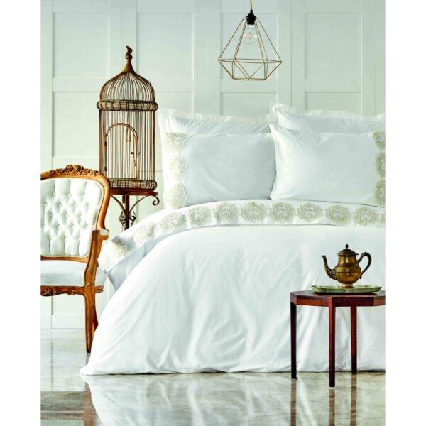 купить Постельное белье Karaca Home - Daniella gold с гипюром Белый фото