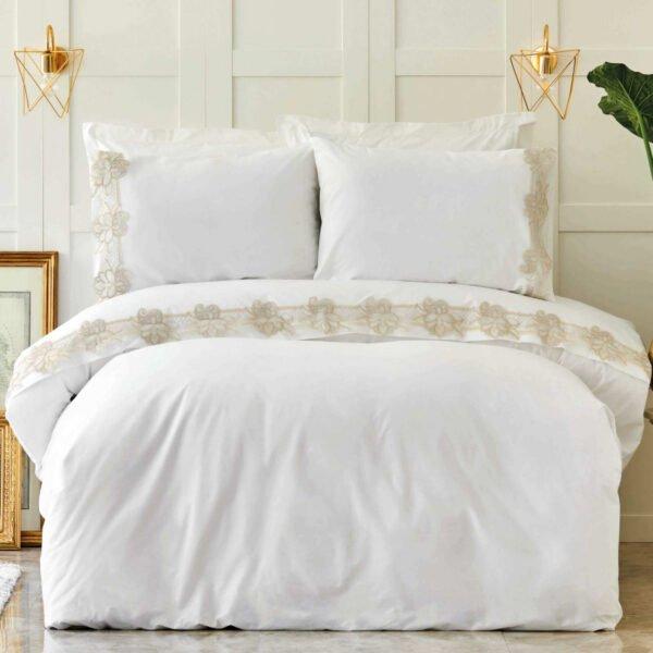 купить Постельное белье Karaca Home - Melissa gold с гипюром Белый фото