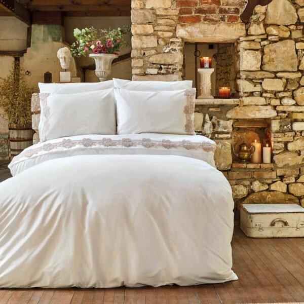 купить Постельное белье Karaca Home - Melissa pudra с гипюром Белый фото