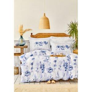 купить Постельное белье Karaca Home сатин - Roses mavi Голубой фото