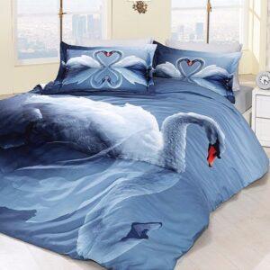 купить Постельное белье First choice vip сатин 3d swan mavi Синий фото