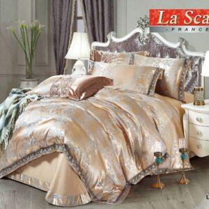 купить Постельное белье La Scala LUX-21 шелковый жаккард Золотой Бежевый фото