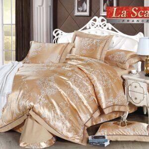купить Постельное белье La Scala шелковый жаккард JP-35 Золотой|Бежевый фото