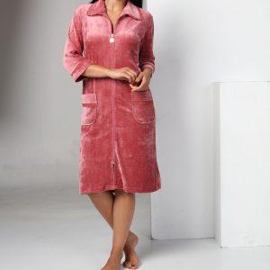купить Женский халат Nusa тонкий велюр без капюшона на молнии 0321 Murdum Розовый фото