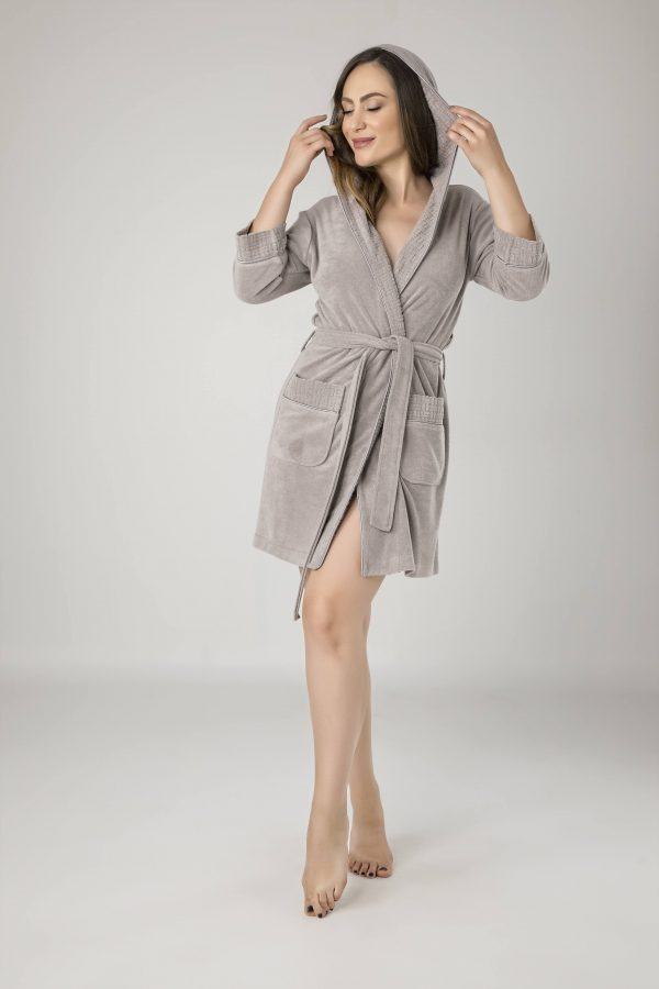 купить Женский халат Nusa махра 0419 Bej Бежевый|Серый фото