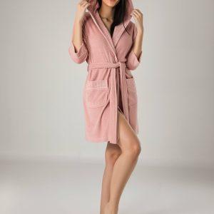 купить Женский халат Nusa махра 0419 Pudra Розовый фото