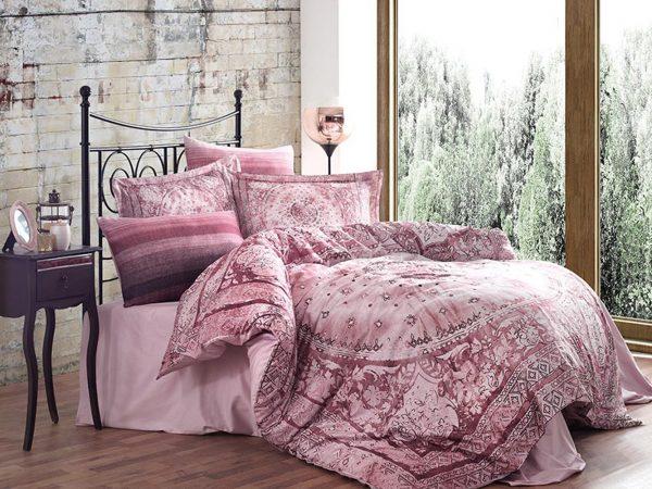 купить Постельное белье Сатин Принт Премиум - Dantela Vita Lina Pudra Розовый фото