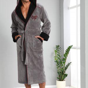 купить Мужской халат Nusa длинный с капюшоном 1170 Серый Серый фото