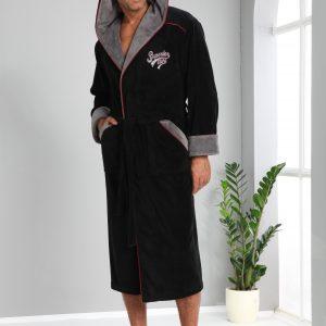 купить Мужской халат Nusa длинный с капюшоном 1170 Черный фото