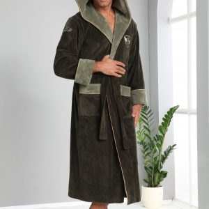 купить Мужской халат Nusa длинный с капюшоном 1175 Хаки Зеленый фото