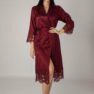 купить Женский халат Nusa длинный без капюшона 15060 Bordo Бордовый фото