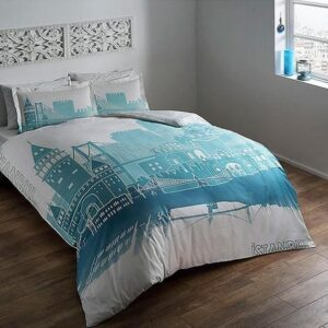 купить Светящееся постельное белье TAC сатин Glow Istanbul turkuaz Голубой фото
