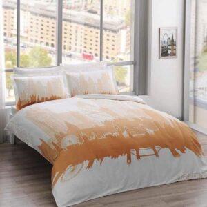 купить Светящееся постельное белье TAC сатин Glow London gold Оранжевый фото