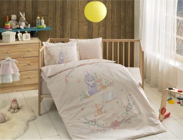 купить Постельное белье TAC Organik Happy Bunny Somon младенцам Бежевый фото