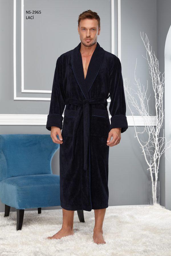 купить Мужской халат Nusa длинный без капюшона 2965 Синий Синий фото