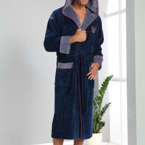 купить Мужской халат Nusa длинный с капюшоном 2995 Синий фото