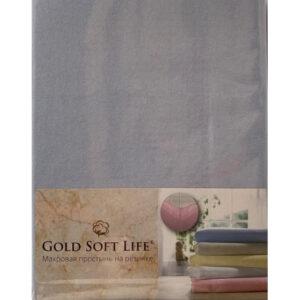 купить Простынь трикотажная на резинке Gold Soft Life Terry Fitted Sheet blue Голубой фото