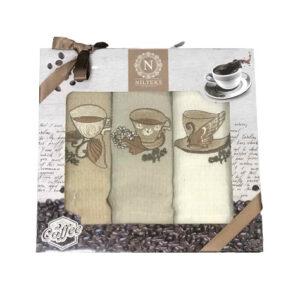 купить Набор кухонных полотенец Nilteks Lux Coffee V02 3 шт  фото
