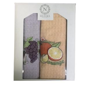 купить Набор кухонных полотенец Nilteks Фрукты V05 2 шт  фото