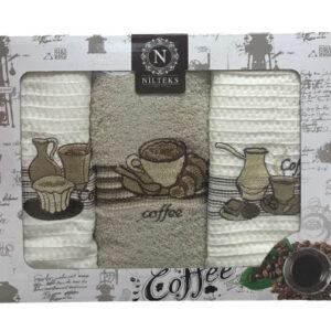 купить Набор кухонных полотенец Nilteks Lux Coffee V01 3 шт  фото