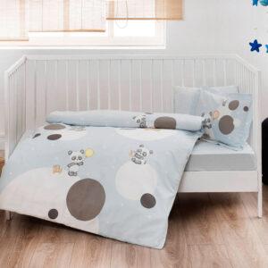 купить Постельное белье TAC ранфорс Happy Moons V01 mavi младенцам Голубой фото
