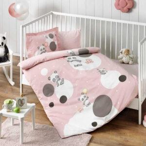купить Постельное белье TAC ранфорс Happy Moons V02 pembe младенцам Розовый фото
