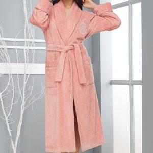 купить Женский халат Nusa длинный без капюшона 4030 K Pudra Розовый фото