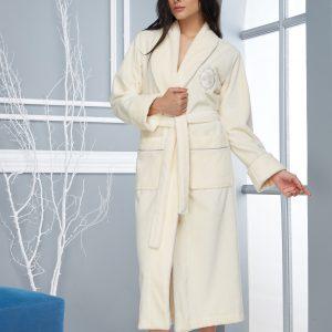 купить Женский халат Nusa длинный без капюшона 4030 Krem Крем Кремовый фото