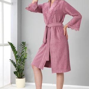 купить Женский халат Nusa средней длинны без капюшона 4085 Gulkurusu Розовый фото