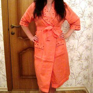 купить Женский вафельный халат Nusa длинный без капюшона 8200 Оранжевый фото