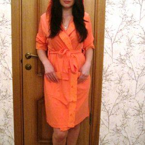 купить Женский халат Nusa трикотажн 8265 Кораловый Оранжевый фото