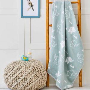 купить Детский плед в кроватку Karaca Home - Geometric Elephant Голубой фото
