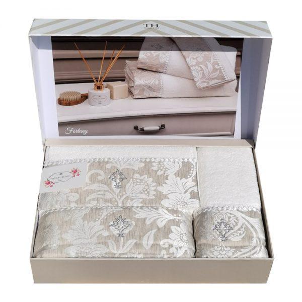 купить Набор полотенец TIVOLYO HOME FORTUNY BEJ 3 Белый|Бежевый фото