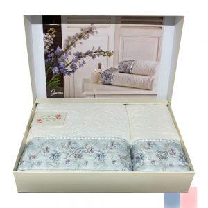 купить Набор полотенец TIVOLYO HOME GINEVRA 2 Белый|Голубой фото
