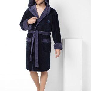 купить Мужской халат Nusa короткий с капюшоном 7160-1 Lacivert Синий фото